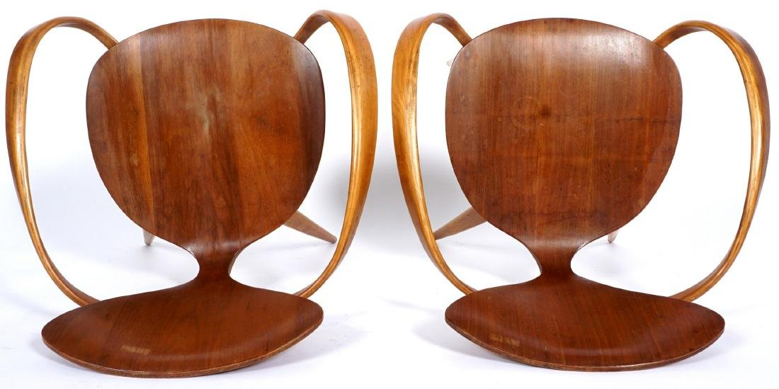 Pair Norman Cherner Bent Wood Arm Chairs - 7