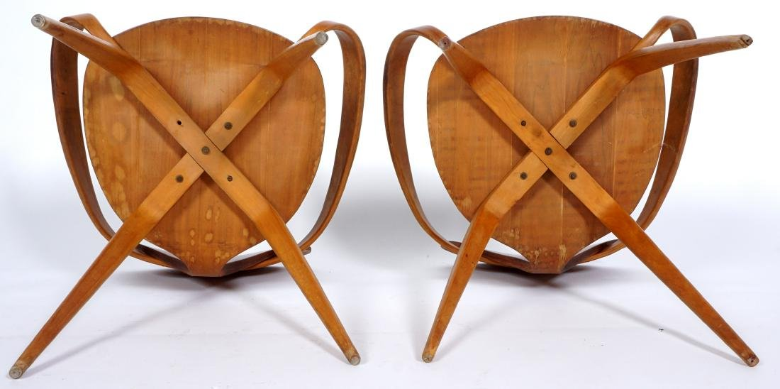 Pair Norman Cherner Bent Wood Arm Chairs - 8