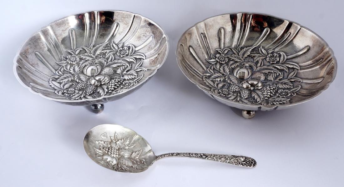 Pair Kirk Repousse Sterling Bon Bon Bowls & Spoon - 2