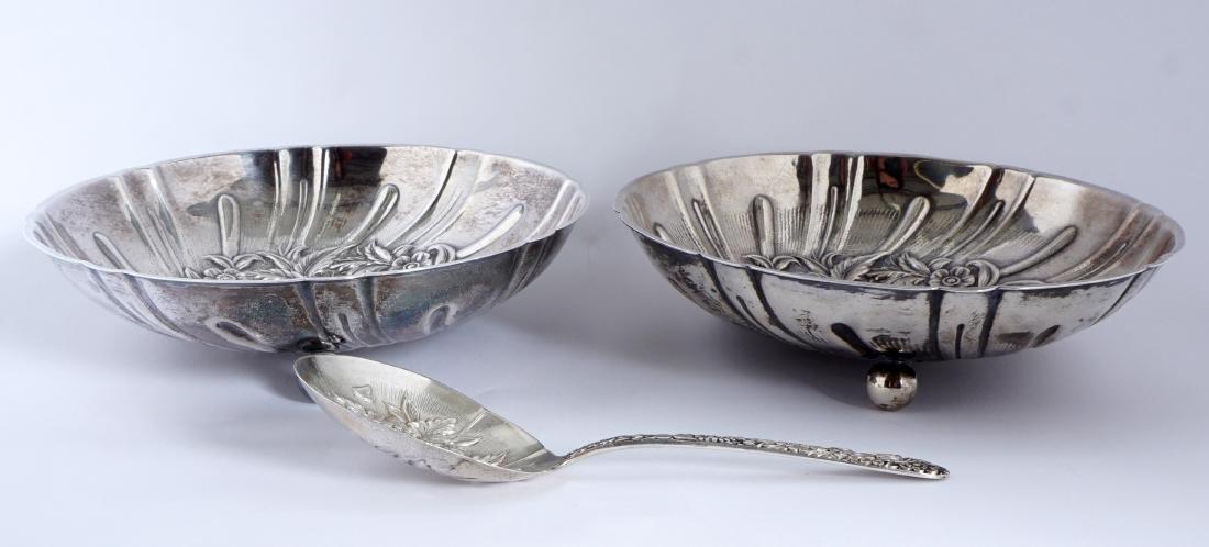 Pair Kirk Repousse Sterling Bon Bon Bowls & Spoon - 3