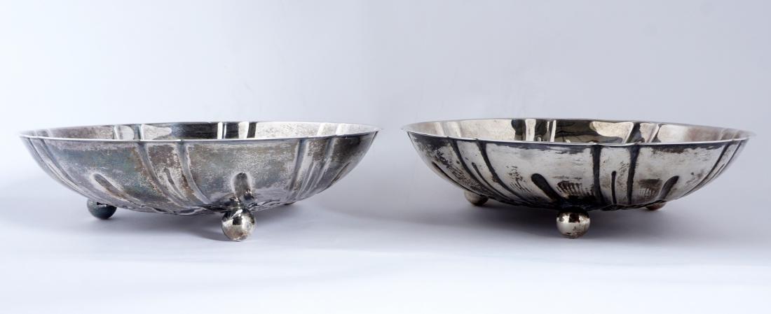 Pair Kirk Repousse Sterling Bon Bon Bowls & Spoon - 5