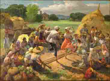 Fernando Amorsolo The Tinikling Dance Painting