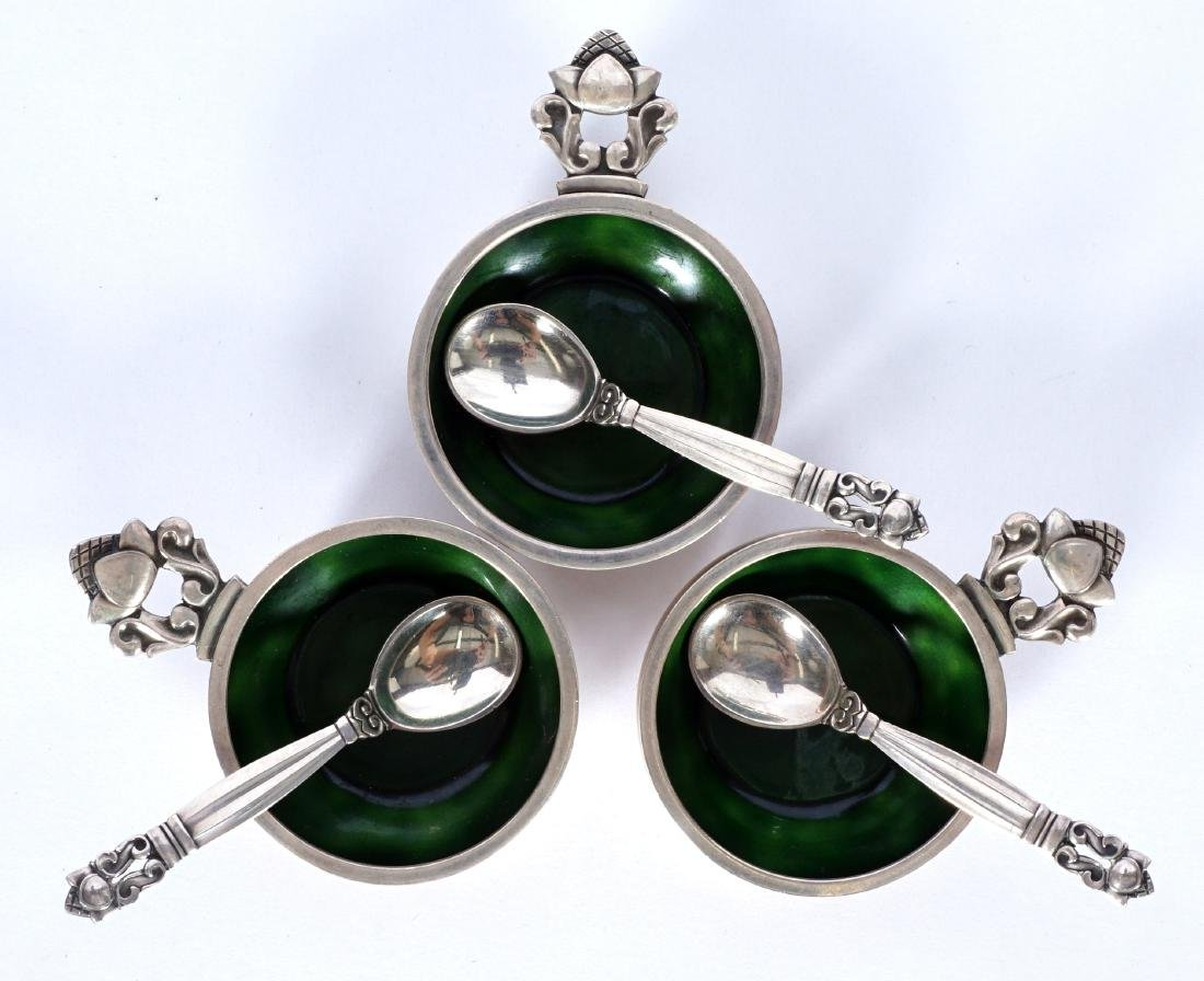 3 Sterling & Enamel Georg Jensen Salt Cellars