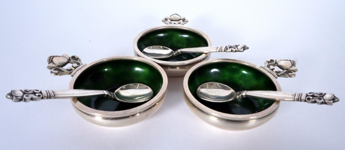 3 Sterling & Enamel Georg Jensen Salt Cellars - 2