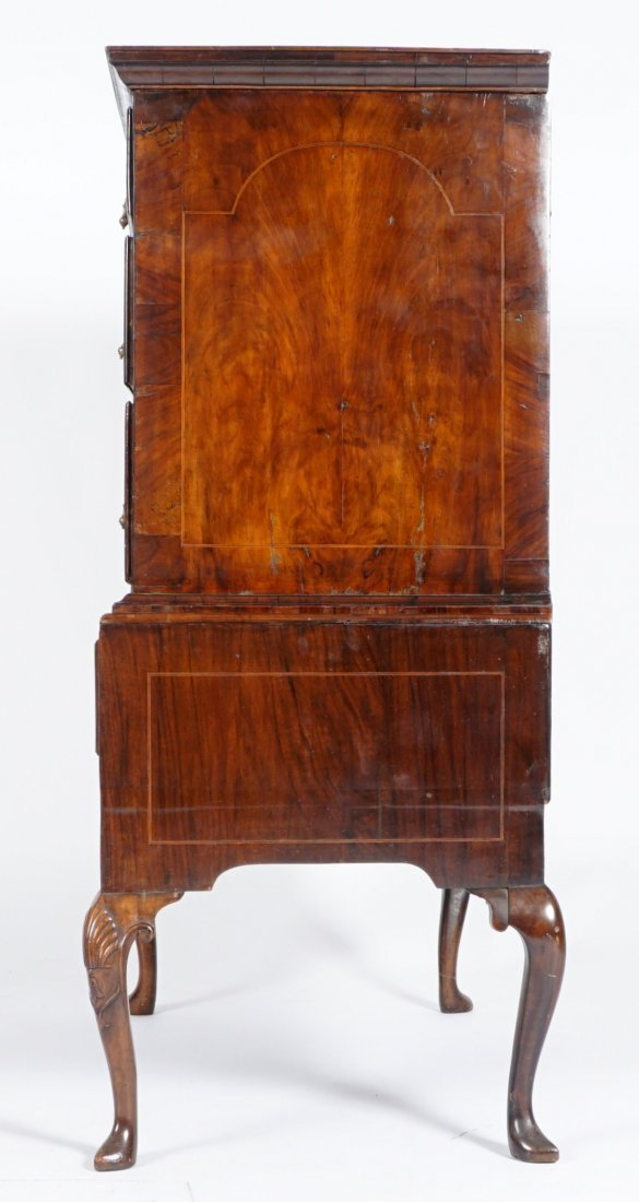 Mahogany Queen Anne Inlaid Chest on Stand - 2