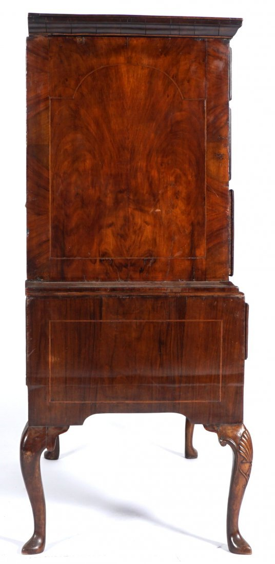 Mahogany Queen Anne Inlaid Chest on Stand - 3