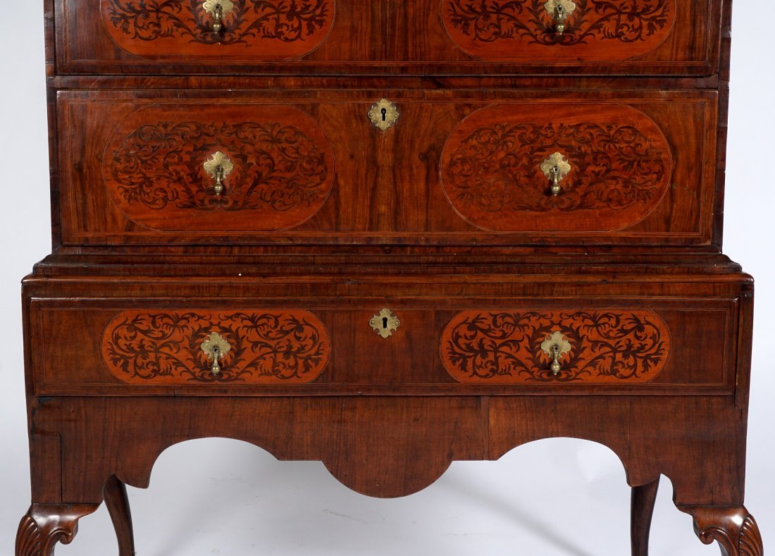 Mahogany Queen Anne Inlaid Chest on Stand - 4