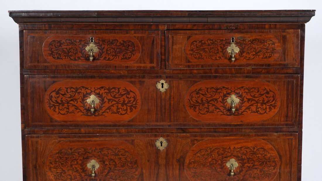 Mahogany Queen Anne Inlaid Chest on Stand - 5