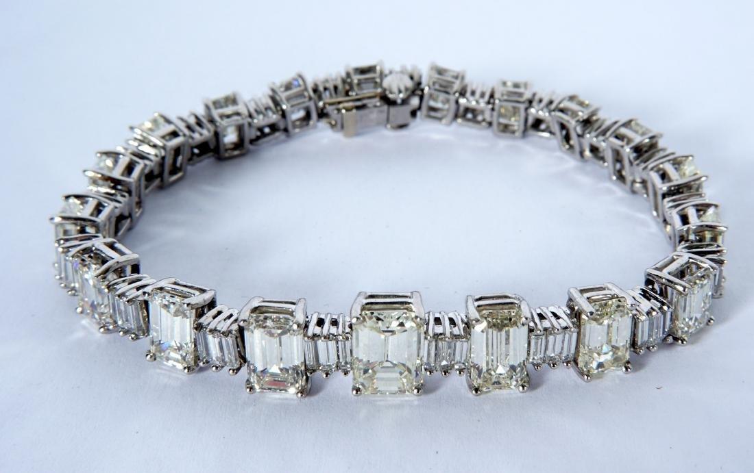 Platinum & 22.5ctw Emerald Cut Diamond Bracelet