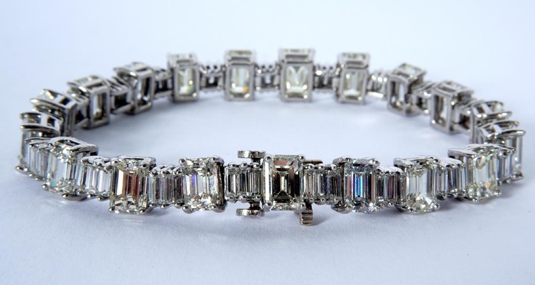 Platinum & 22.5ctw Emerald Cut Diamond Bracelet - 2