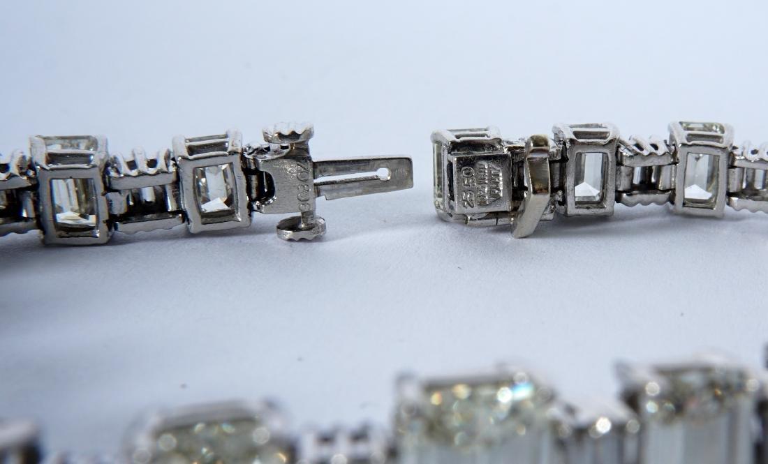 Platinum & 22.5ctw Emerald Cut Diamond Bracelet - 4