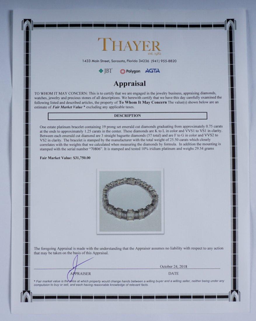 Platinum & 22.5ctw Emerald Cut Diamond Bracelet - 5