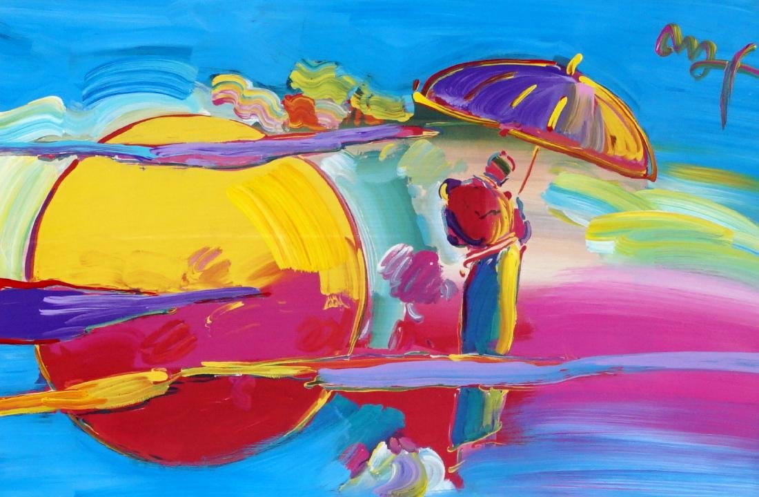 Peter Max New Moon II Mixed Media Painting