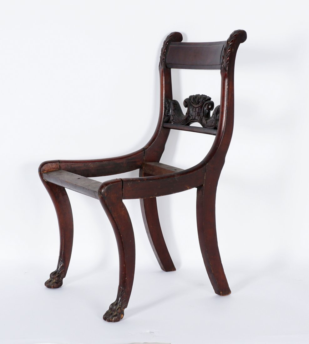 19th Century Duncan Phyfe Style Carved Side Chair