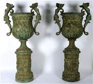 Pair Monumental Bronze Planters