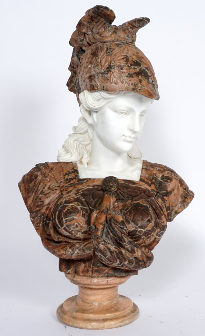 Marble Winged Helmet Bust of Athena or Roma