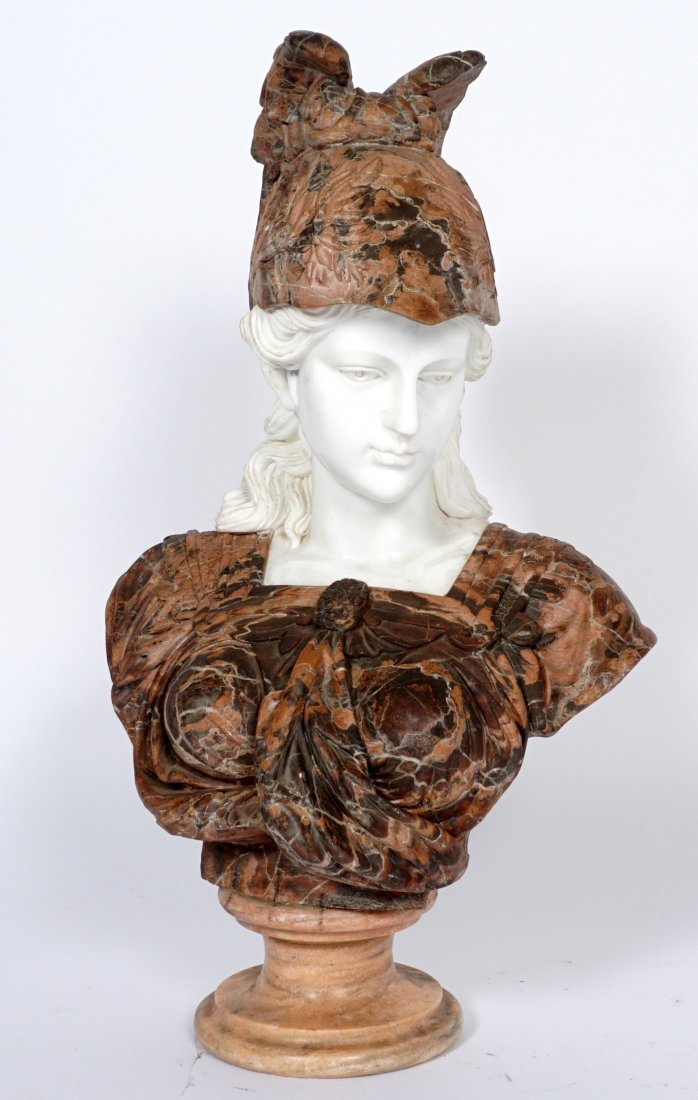 Marble Winged Helmet Bust of Athena or Roma - 2