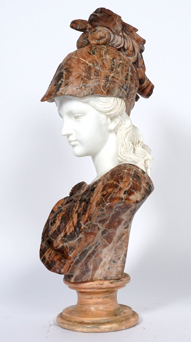 Marble Winged Helmet Bust of Athena or Roma - 3