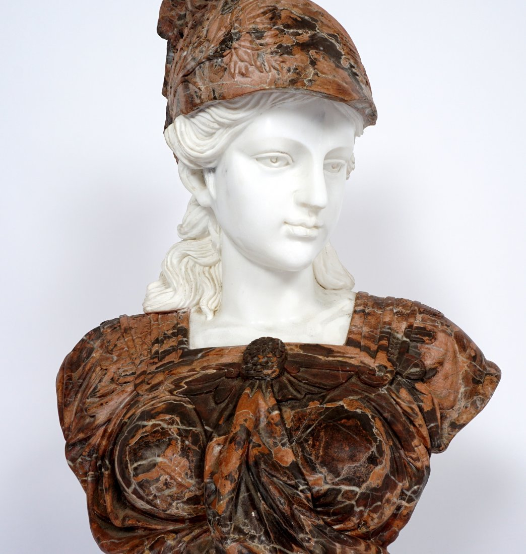 Marble Winged Helmet Bust of Athena or Roma - 6