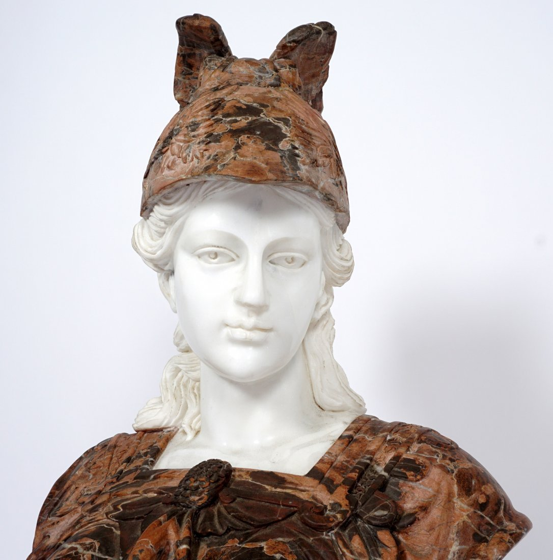 Marble Winged Helmet Bust of Athena or Roma - 7