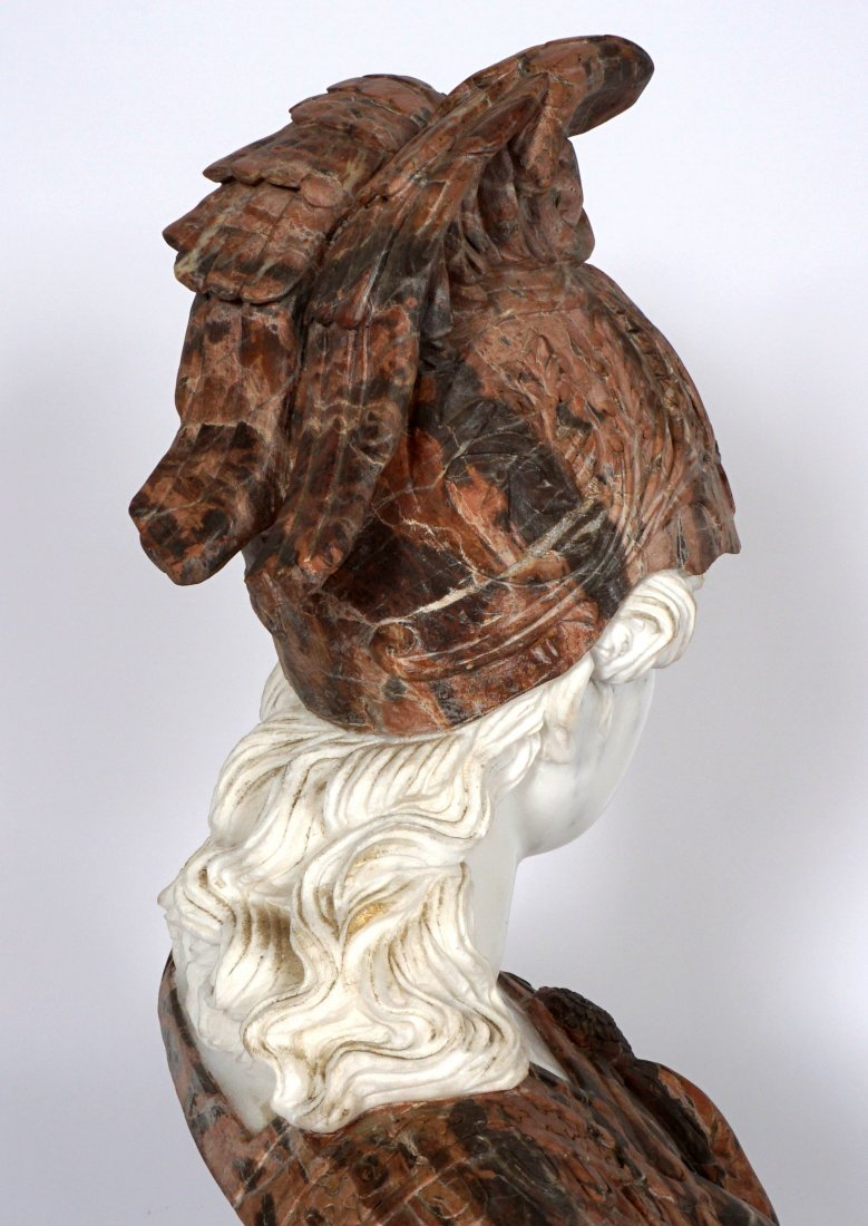 Marble Winged Helmet Bust of Athena or Roma - 8