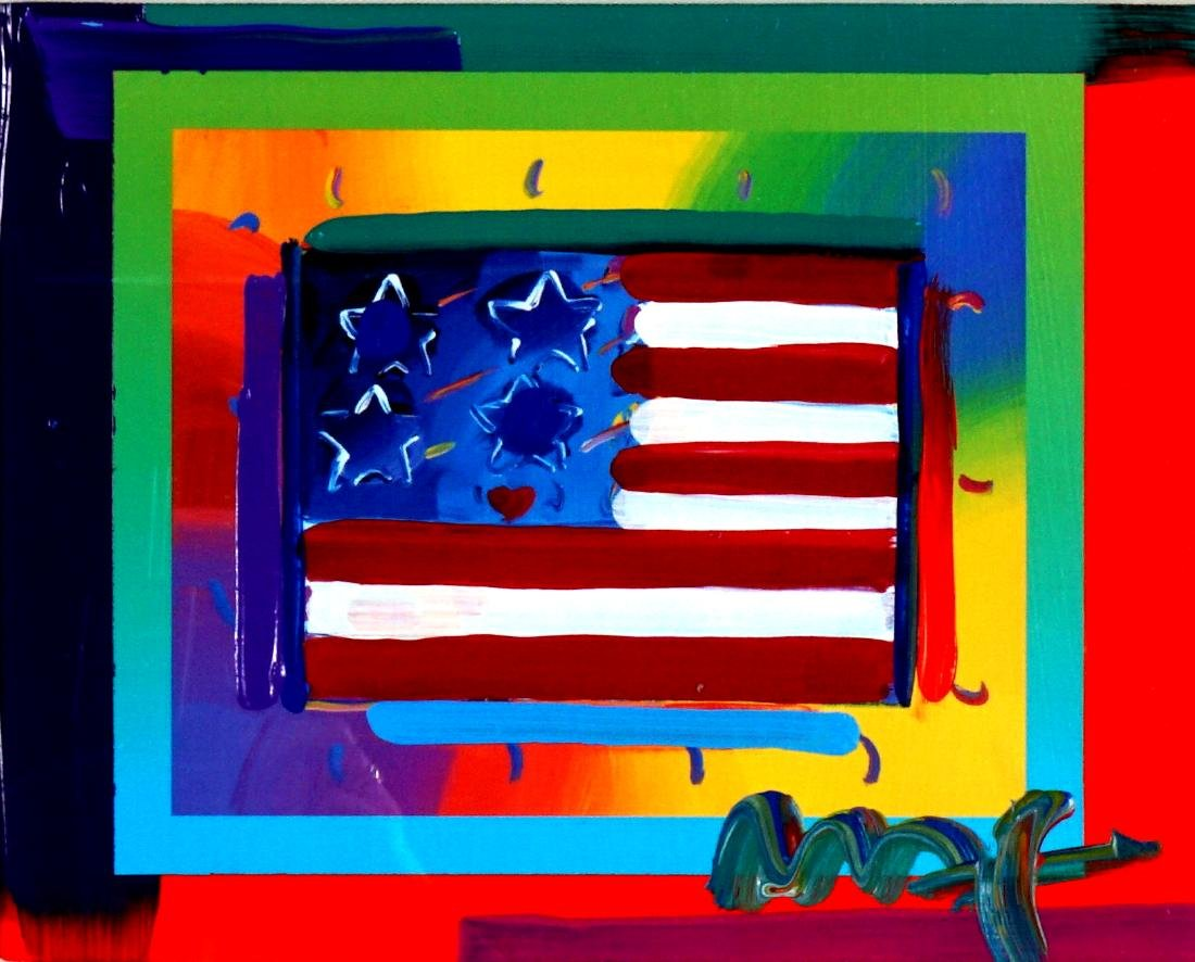 Peter Max Flag with Hearts Mixed Media