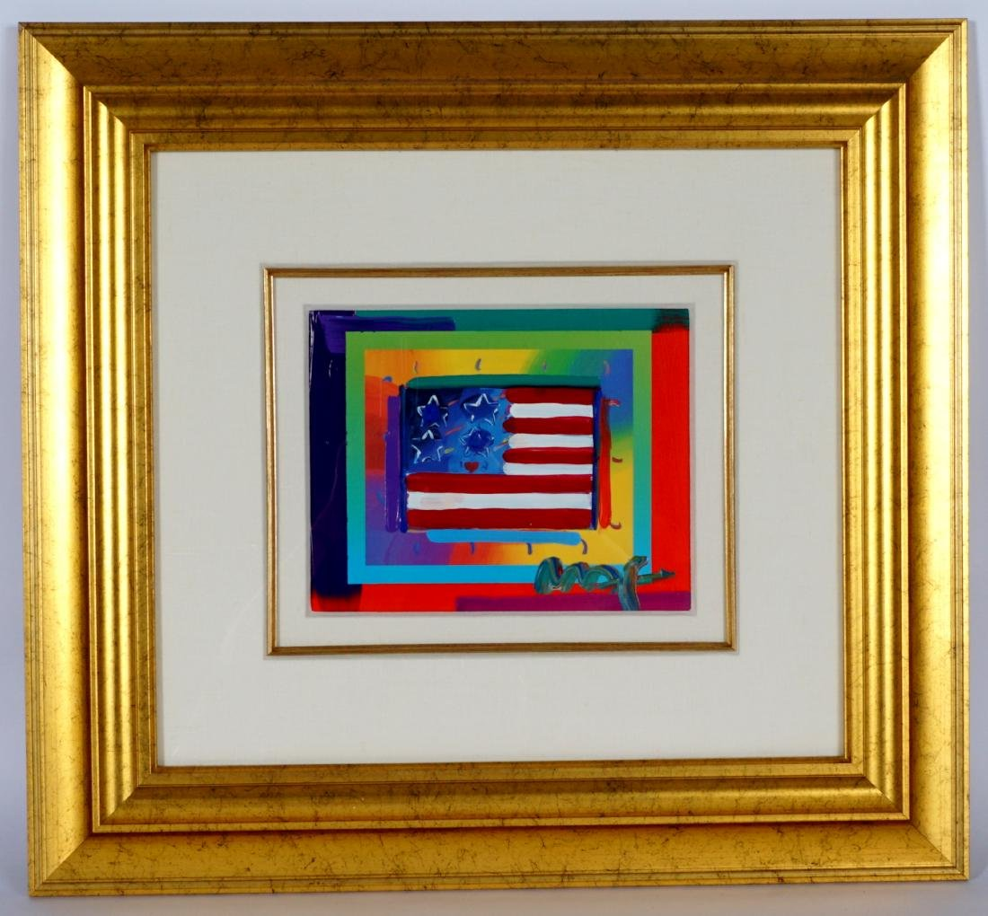 Peter Max Flag with Hearts Mixed Media - 2