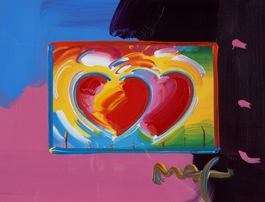 Peter Max Two Hearts on Blends Mixed Media