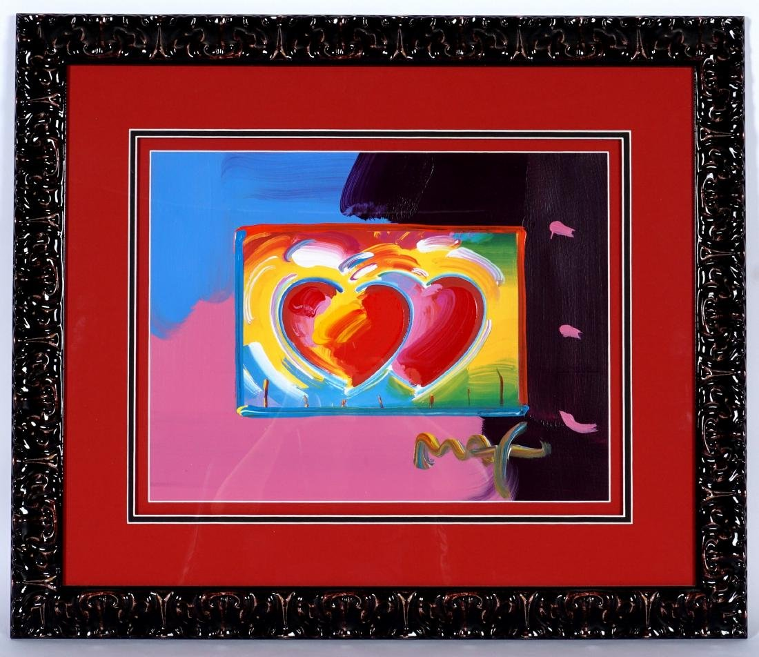 Peter Max Two Hearts on Blends Mixed Media - 2