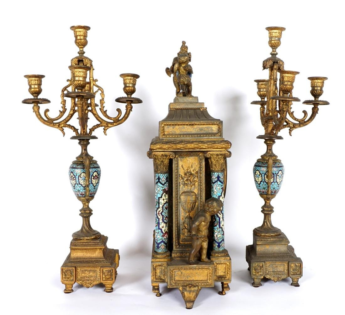 3 Piece French Champleve Clock Garniture Set - 10