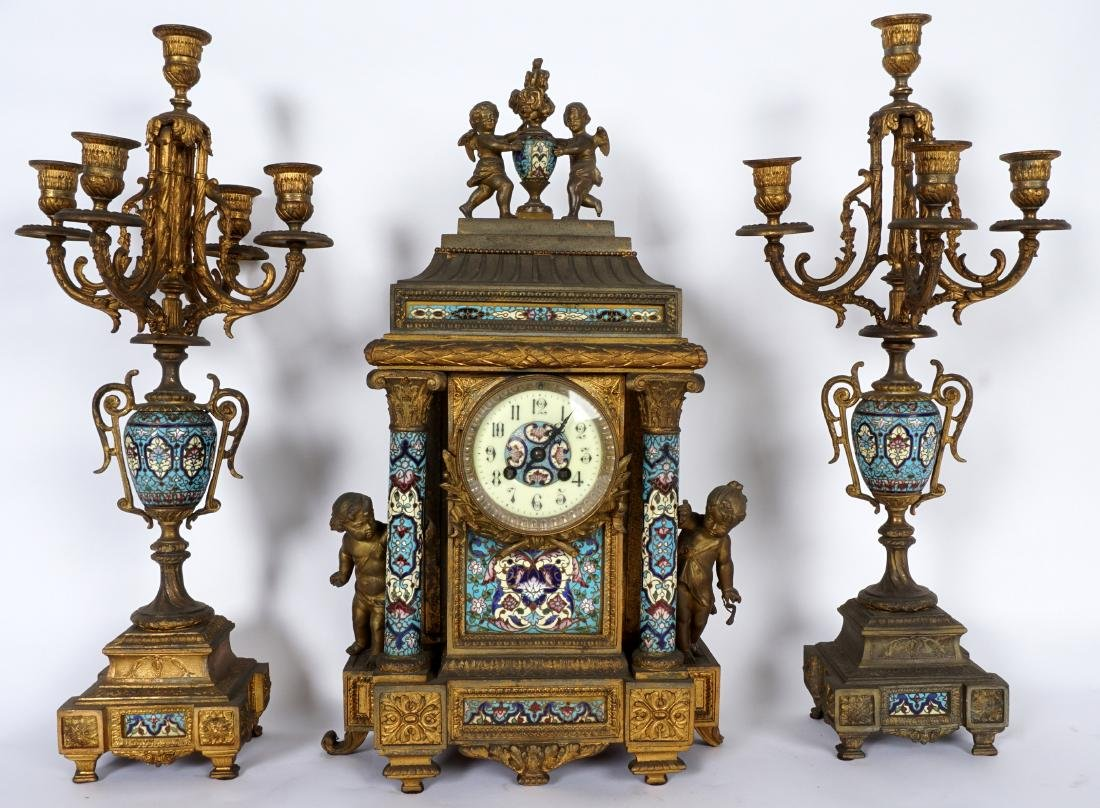 3 Piece French Champleve Clock Garniture Set