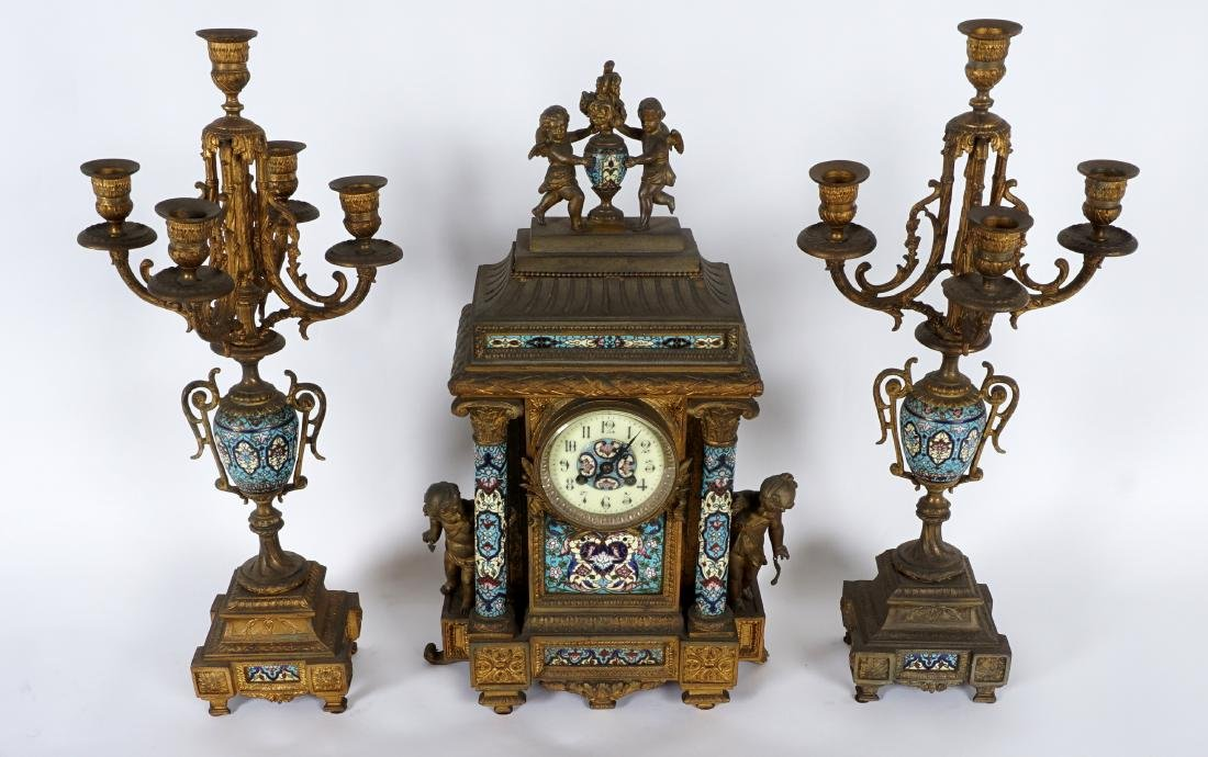 3 Piece French Champleve Clock Garniture Set - 2