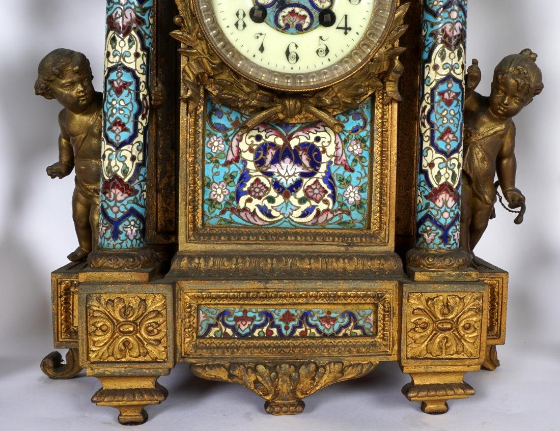 3 Piece French Champleve Clock Garniture Set - 3
