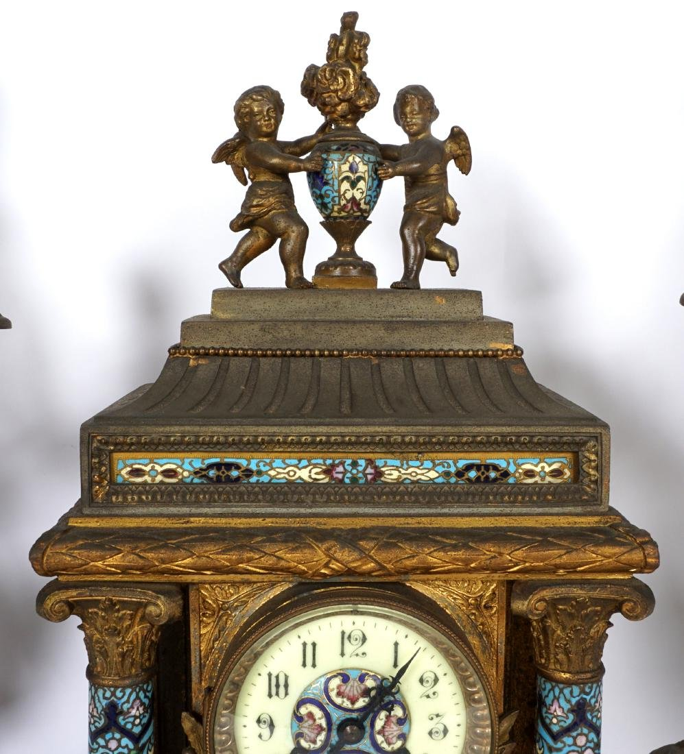 3 Piece French Champleve Clock Garniture Set - 4