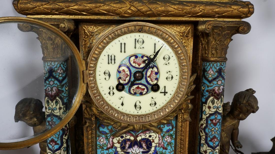 3 Piece French Champleve Clock Garniture Set - 5