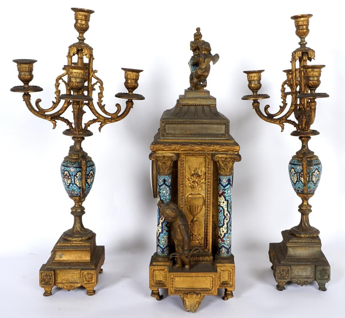 3 Piece French Champleve Clock Garniture Set - 6