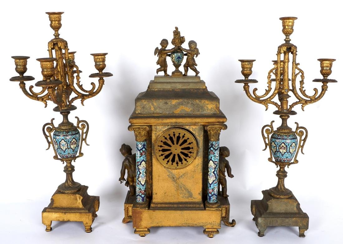 3 Piece French Champleve Clock Garniture Set - 7
