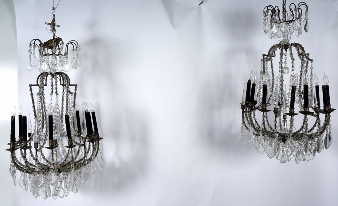 Pair 12 Light Crystal and Bronze Chandeliers - 10
