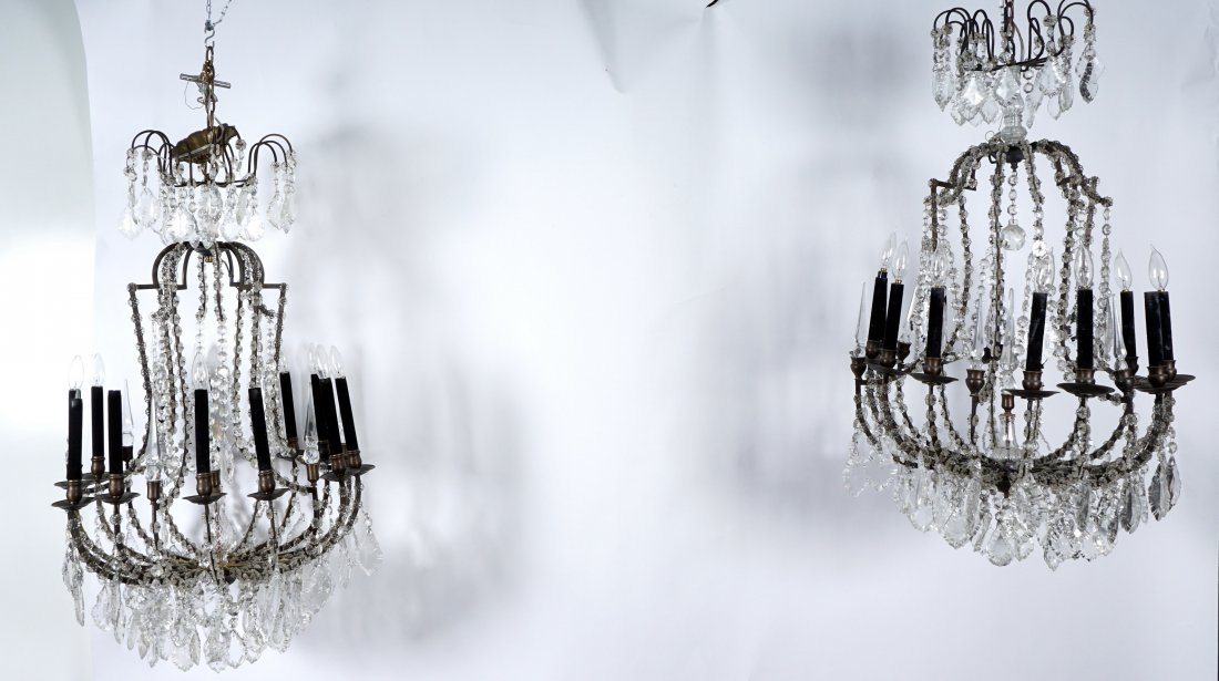 Pair 12 Light Crystal and Bronze Chandeliers