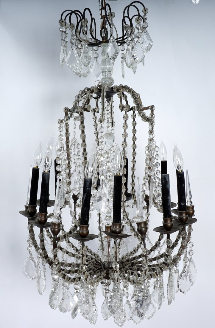 Pair 12 Light Crystal and Bronze Chandeliers - 3