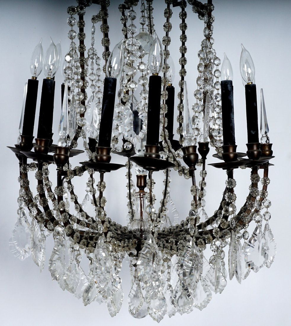Pair 12 Light Crystal and Bronze Chandeliers - 4