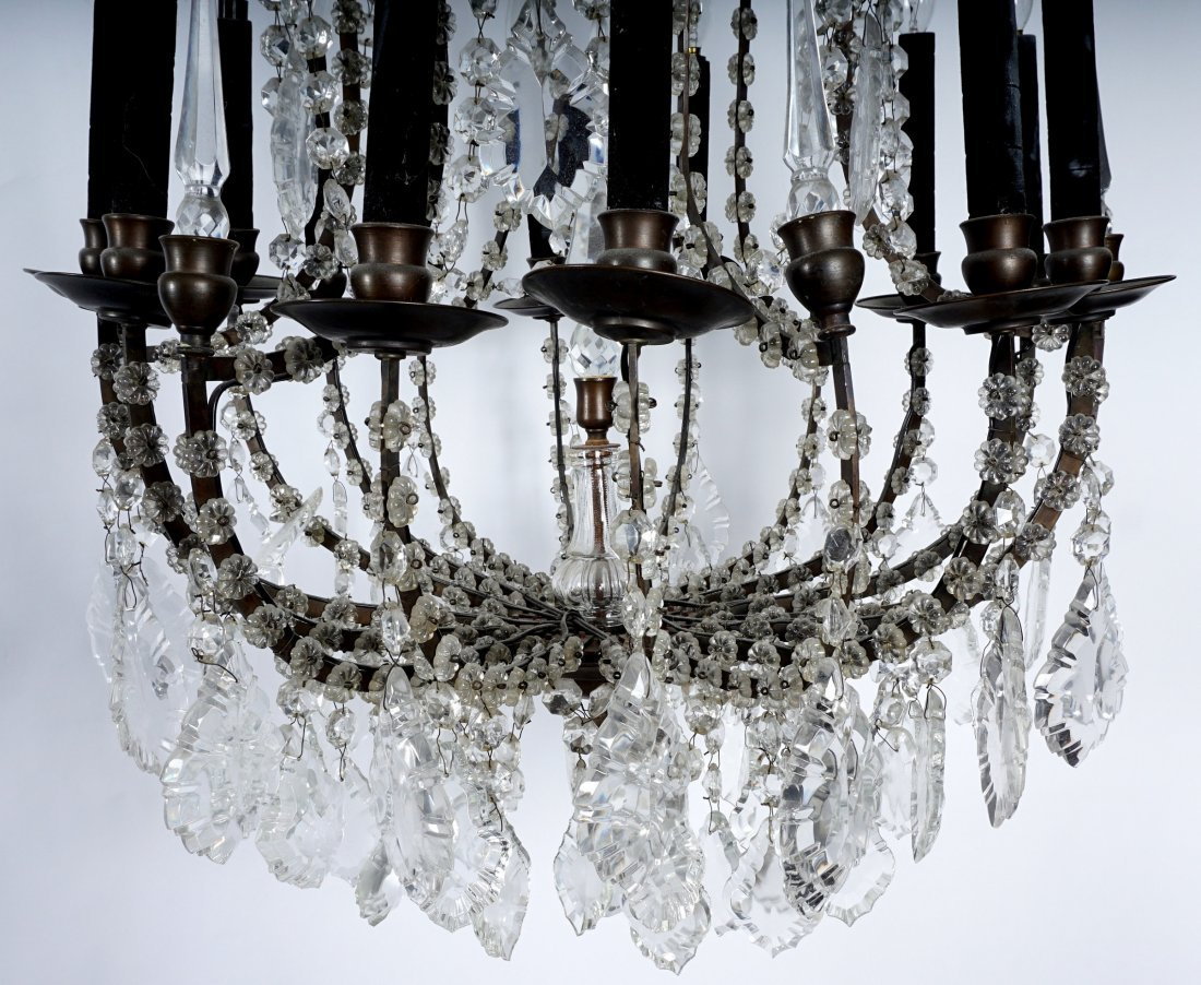 Pair 12 Light Crystal and Bronze Chandeliers - 5