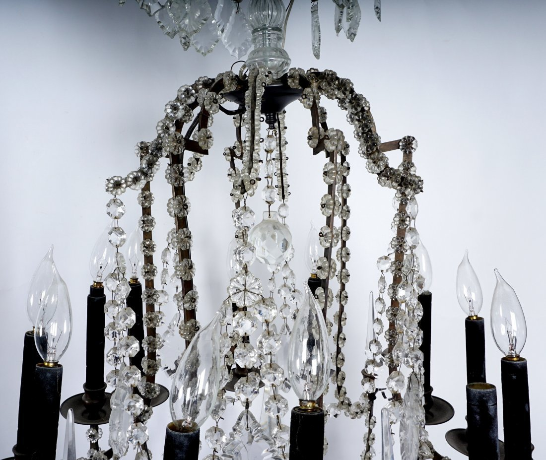 Pair 12 Light Crystal and Bronze Chandeliers - 6