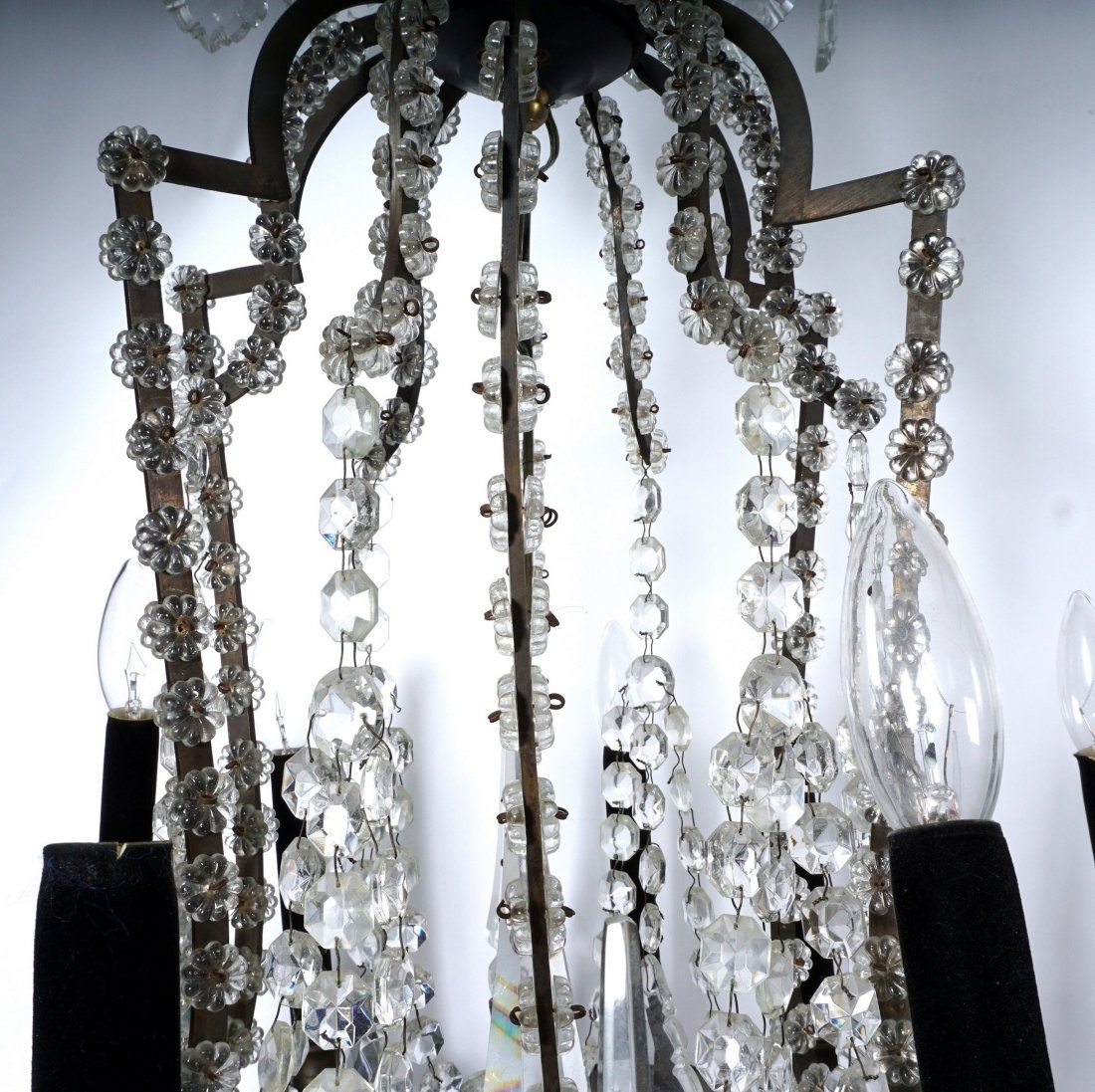 Pair 12 Light Crystal and Bronze Chandeliers - 8