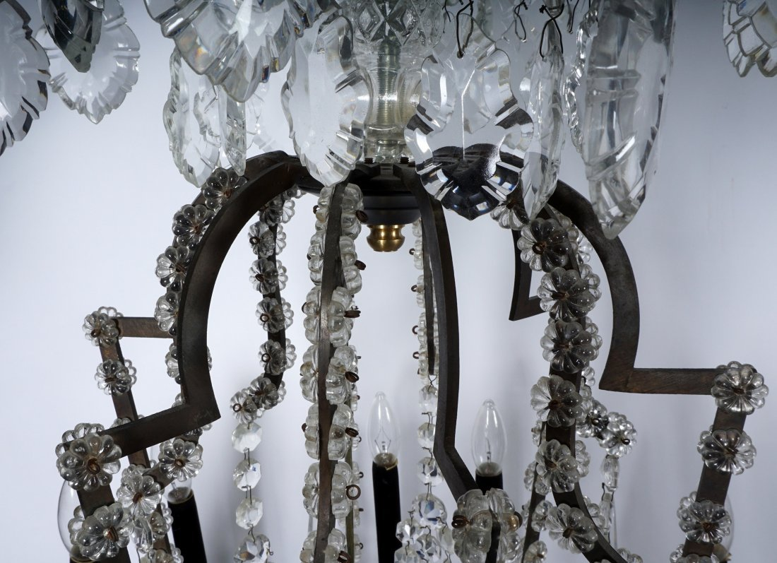 Pair 12 Light Crystal and Bronze Chandeliers - 9