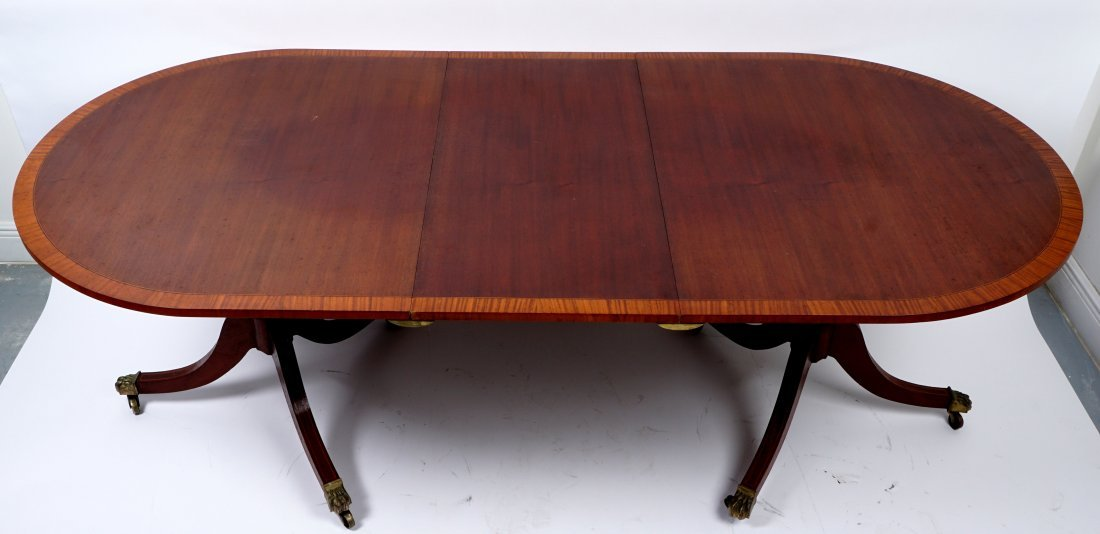 Duncan Phyfe Style Double Pedestal Dining Table - 2