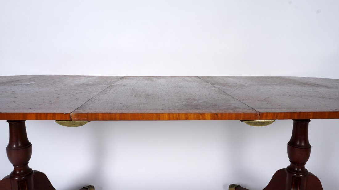 Duncan Phyfe Style Double Pedestal Dining Table - 4