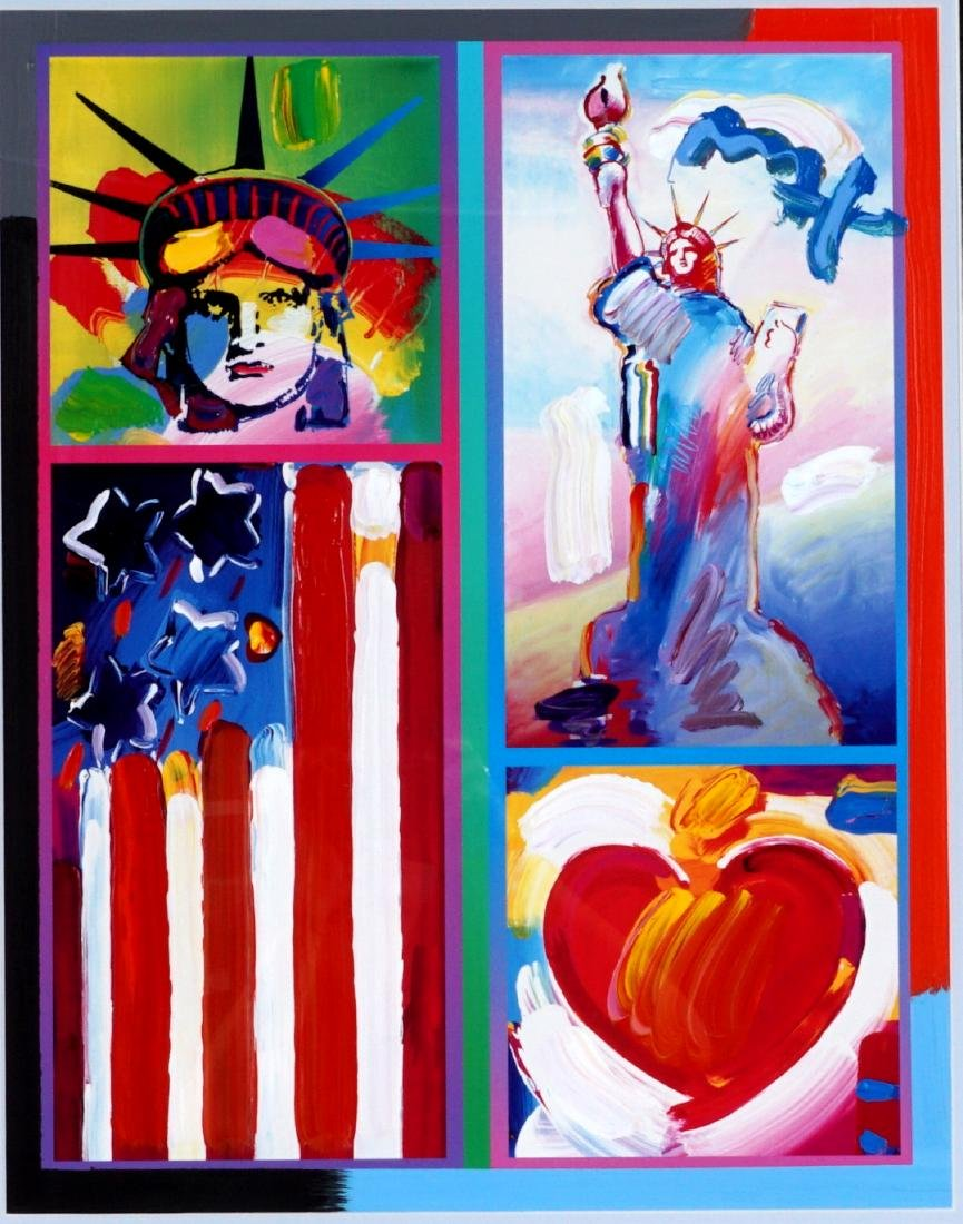 Peter Max 2 Liberties, Flag & Heart Mixed Media