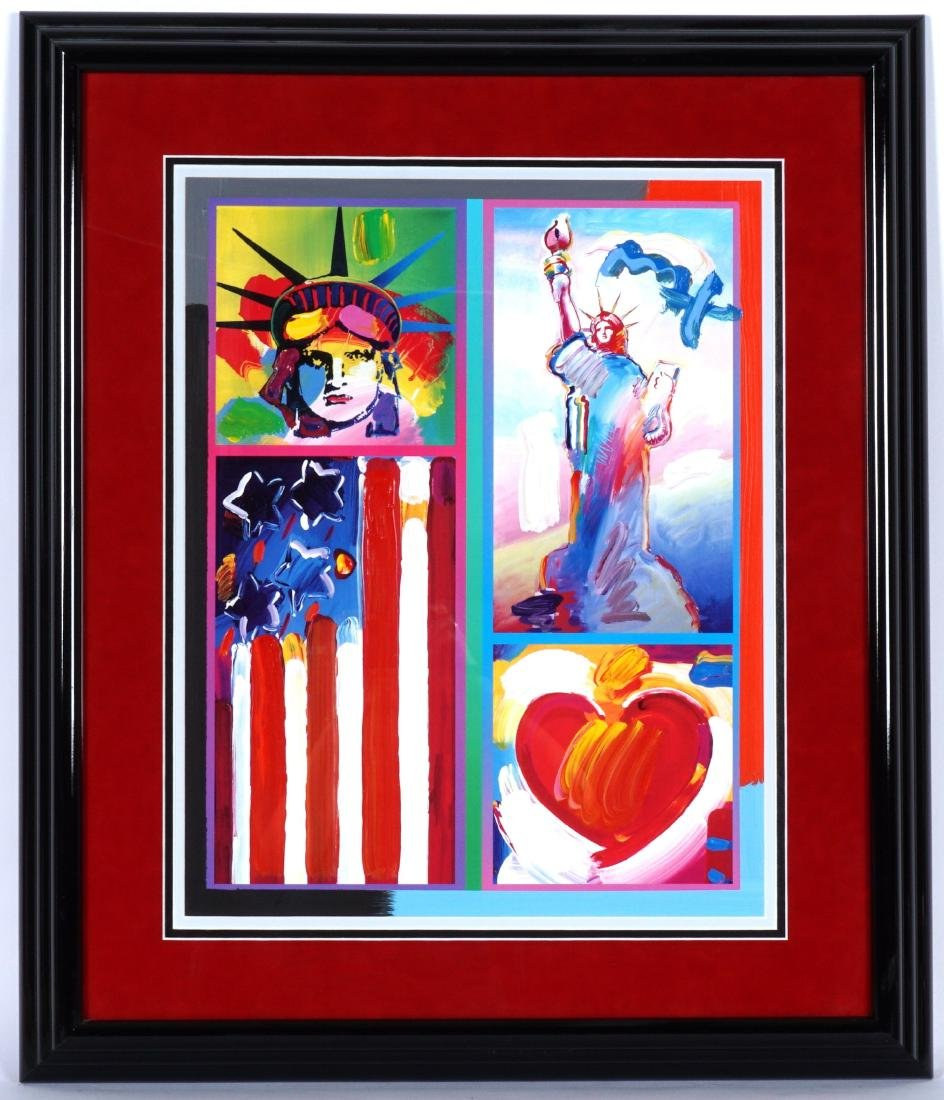 Peter Max 2 Liberties, Flag & Heart Mixed Media - 2