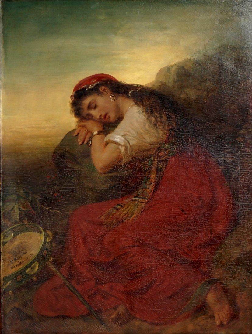 Large Theodor Koppen Sleeping Gypsy Painting